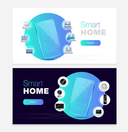 Smart home automation touchscreen smartphone apps control 2 realistic horizontal white black background web banners vector illustration Фото со стока - 152700958