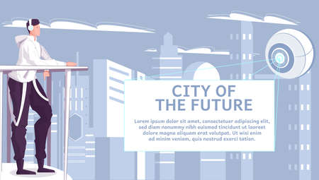 City of future flat background with teen looking at abstract futuristic object radiating light rays and flying over skyscrapers vector illustration