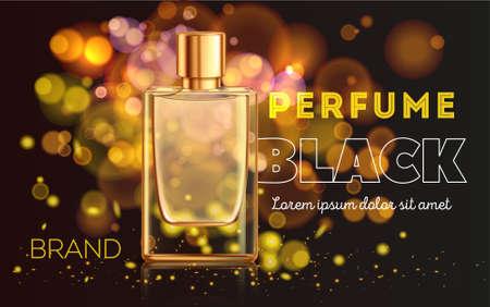 Golden bottle of perfume on dark sparkling background realistic advertisement vector illustration Иллюстрация