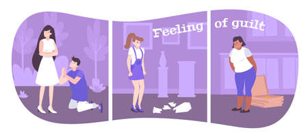 Feeling of guilt flat compositions showing emotions of people in different situations vector illustration