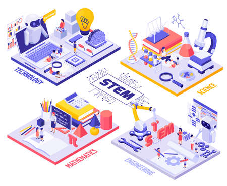 STEM education isometric Infographics with children and teachers characters laboratory equipment robots and engineering tools vector illustration Ilustração Vetorial