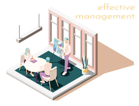 Effective management isometric composition with text and room interior with group of people during working meeting vector illustration