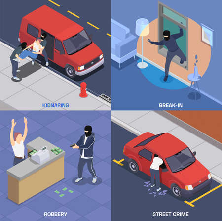 Crime isometric 2x2 icons set with gangsters robbing bank kidnapping breaking in car and house 3d isolated vector illustration