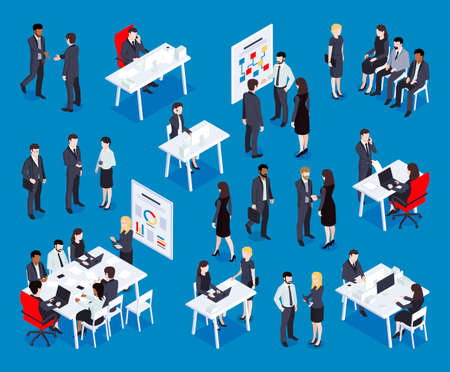 Isometric business set with groups of human characters sitting at working places having meetings and conversations vector illustration