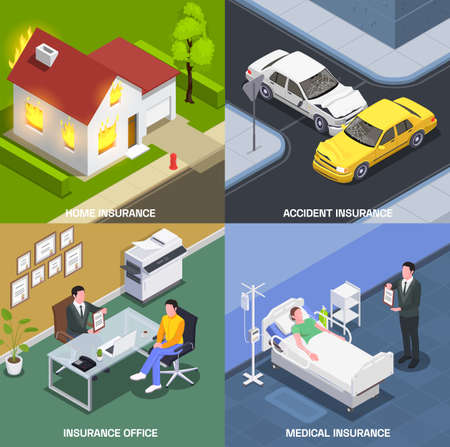 Insurance isometric design concept with set of square compositions with agents office hospital and sudden accidents vector illustration
