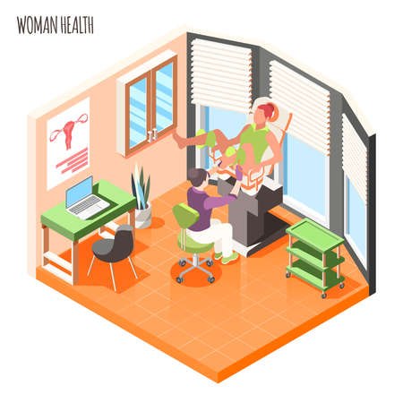 Women health isometric composition with doctor examines female patient in gynecological chair vector illustration Vecteurs