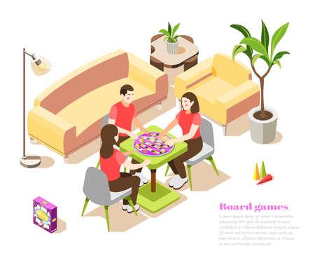 Board games isometric composition with people in home interior spend leisure time together vector illustration