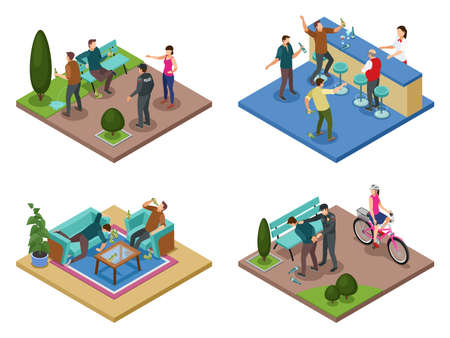 Alcoholism dependance concept 4 isometric compositions with uncontrollable drinking public antisocial abusive behavior aggression isolated vector illustration   Illusztráció