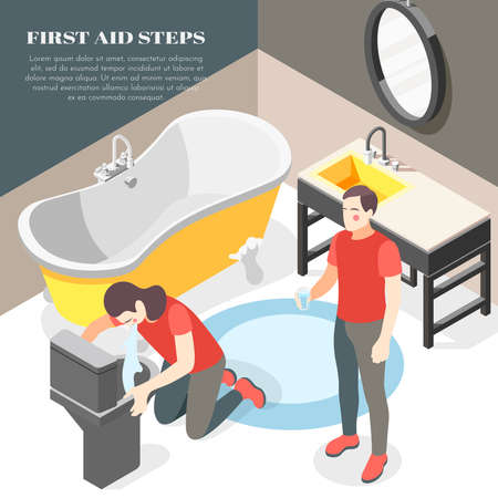 Firsts aid steps for food poisoning diarrhea vomiting isometric bathroom background with offering glass water vector illustration
