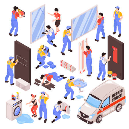 Home renovation repair remodeling professional service team tasks isometric set including hanging cabinets framing rooms vector illustration Vektorové ilustrace