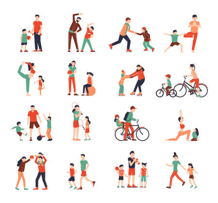 Family sport color set of isolated icons and human characters of kids doing fitness with parents vector illustration Ilustración de vector