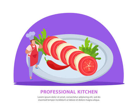 Professional kitchen flat background with editable text and composition of cook character and vegetable cutting dish vector illustration