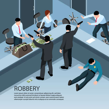 Isometric criminal background with indoor scenery of robbery characters of people with money bags and guns vector illustration Vettoriali