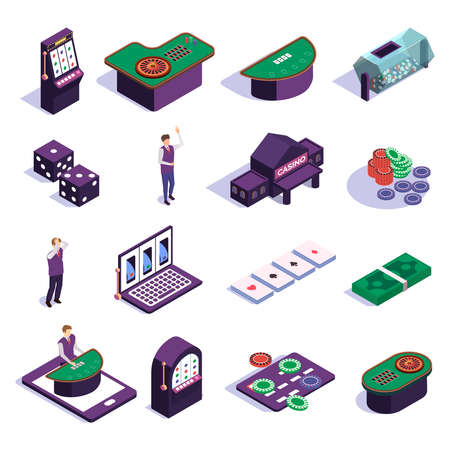 Isometric icons set with casino slot machines croupier and tools for gambling games isolated on white background 3d vector illustration