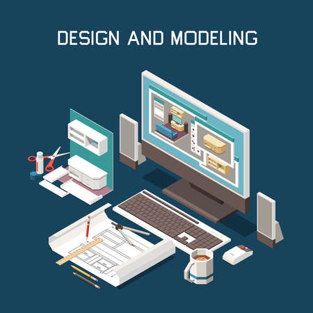 Carpentry production design 3d computer modeling furniture building instructions technical drawing software isometric composition vector illustration
