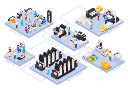 Printing house isometric flowchart with paper and paint symbols isometric vector illustration Vetores