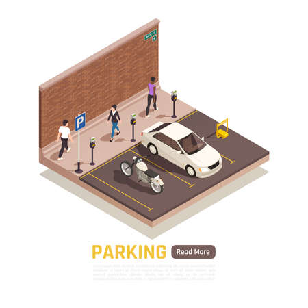 City street parking area with motorbike white car reserved place meter pedestrians isometric composition vector illustration