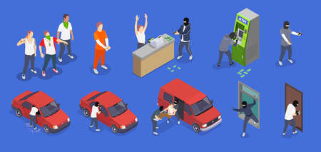 Gangsters committing different crimes isometric icons set isolated on blue background 3d vector illustration