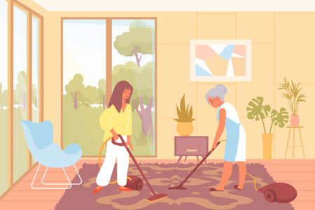 Young and elderly women cleaning floor carpet with vacuum flat vector illustration
