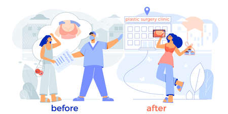 Plastic surgery breast enlargement before after flat composition with happy patient surgeon clinic entrance vector illustration Illustration