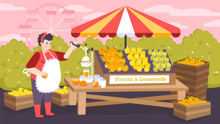Shopping stall in city amusement park with fruits and lemonade on counter flat background vector illustration
