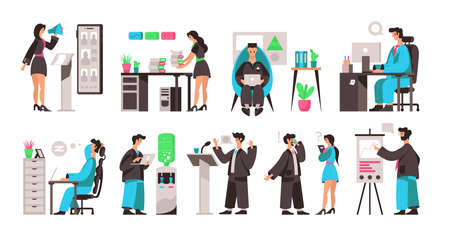 Business office color set of isolated compositions with doodle human characters of workers at their workplaces vector illustration