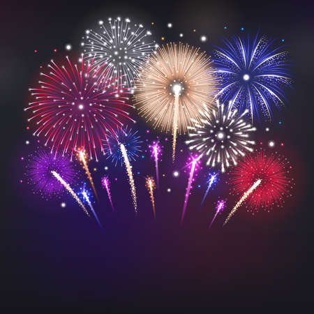 Realistic background with glowing colorful fireworks on dark sky vector illustration