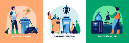 Garbage recycling vertical banners set with garbage disposal symbols flat isolated vector illustration