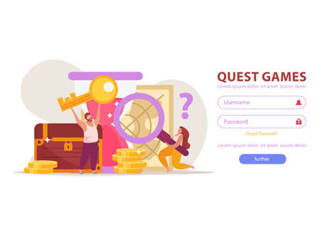 Quest game flat background for web site login page with fields buttons and gaming achievements images vector illustration