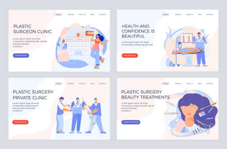 Plastic surgery private clinic 4 web pages banners with facial body aesthetics cosmetic beauty treatments vector illustration