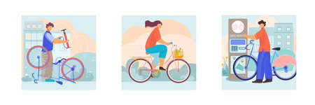 Bicycle 3 flat square compositions with repairman service riding city bike with basket automated rental vector illustration
