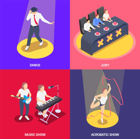 2x2 isometric icons set with jury people singing and dancing at talent contest 3d isolated vector illustration