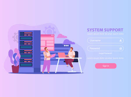 Flat background with two system administrators their work place and form for username and password vector illustration