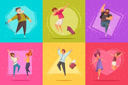 Joyful jumping people design set with fun and success symbols flat isolated vector illustration Vecteurs