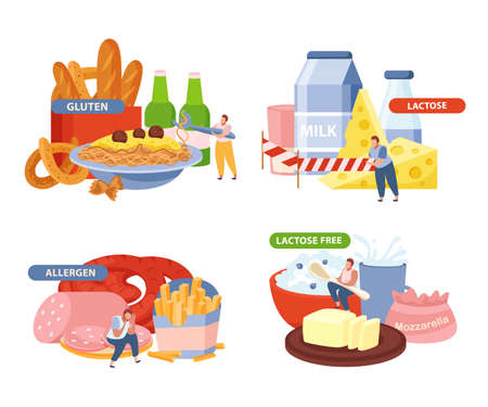 Lactose and gluten concept icons set with allergen symbols flat isolated vector illustration