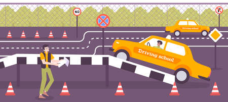 Driving school training background with practice symbols flat vector illustration