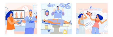 Plastic surgery clinic treatments 3 flat square composition with breast implants consultation appointment liposuction operation vector illustration