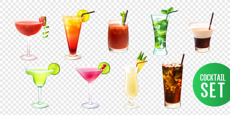 Realistic set with ten alcoholic cocktails in glasses of different shape isolated on transparent background vector illustration