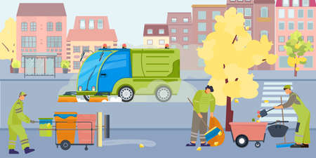 Street cleaning dust flat composition with outdoor view of city street with cleaner vehicles and people vector illustration