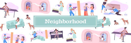 House neighbors pattern with pets and children noise symbols flat vector illustration Stock Illustratie