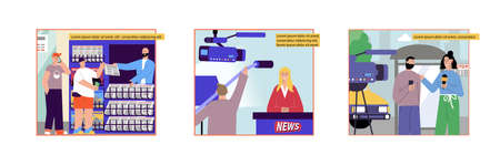 News set of flat compositions with news stall images reporter and newscaster characters with editable text vector illustration
