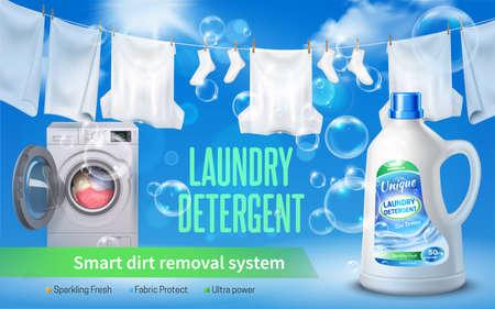 Laundry detergent realistic horizontal banner with laundry detergent headline bottle of washing liquid and washing machine vector illustration