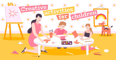 Creative activities for children flat background with mom teaching children to make origami from paper vector illustration