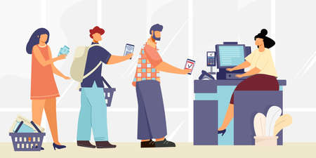 Payment cash desk composition with flat human characters standing in line with cashier and contactless payments vector illustration Vector Illustratie