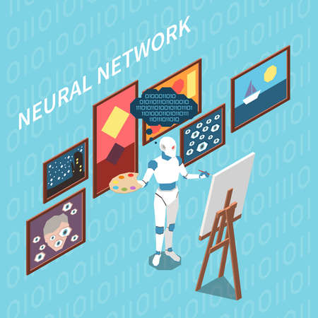 Artificial intelligence isometric composition with character of robot with palette drawing paintings based on learned experience vector illustration Vecteurs
