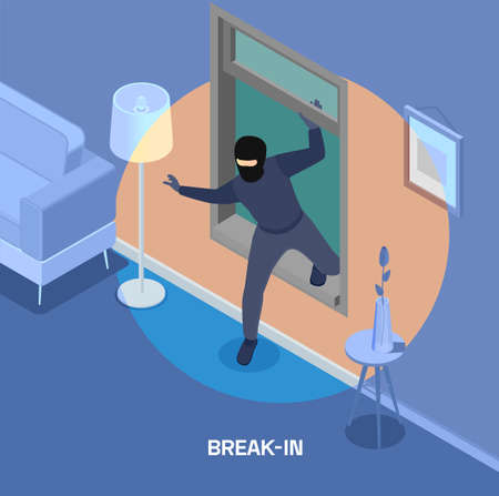 Robbery isometric composition with thief breaking into house through window 3d illustration