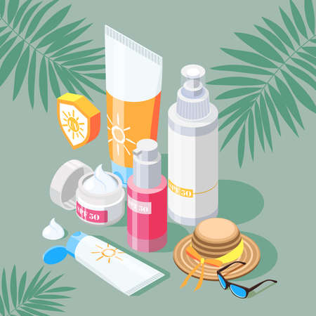 Sunscreen isometric composition with set of sun protection products creams and spray with hat and sunglasses vector illustration Illustration