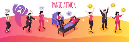 Isometric panic attack people composition with text and human characters therapy stages and mood pictogram signs vector illustration