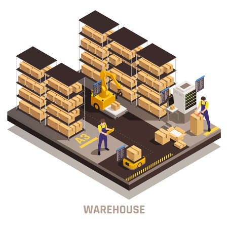Warehouse automated storage process with efficient find track retrieve load cargo computerized system isometric composition illustration Ilustrace
