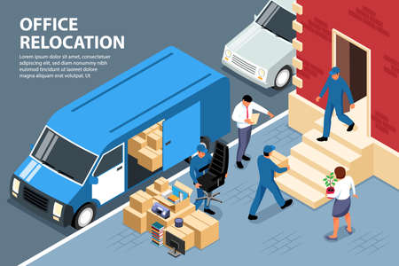 Isometric office move background composition with outdoor scenery and workers loading boxes into van with text illustration